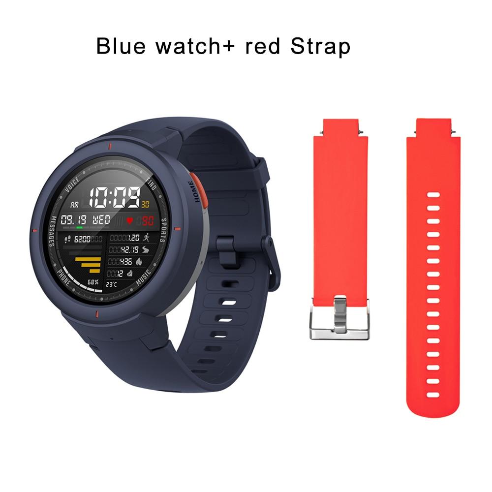 blue N red strap