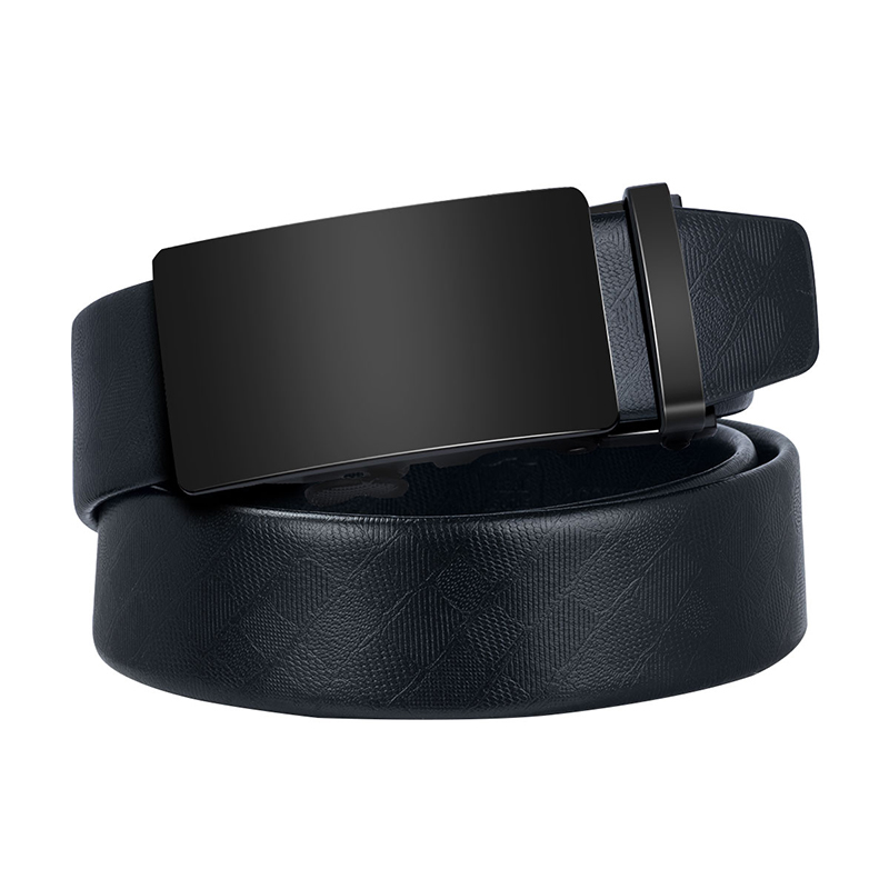Hi-Tie   Belt   Black Cowhide Real Leather   Belt   Men High Quality Men's Wedding Business Leather   Belts   Long Designer Waist   Belt   EA-50