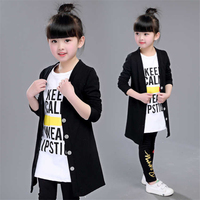 2018 new autumn girls set in the big boy girl coat bottoming shirt trousers three piece