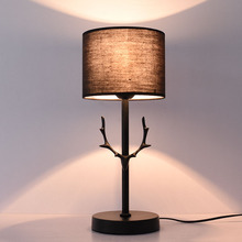 Modern nordic table lamp creativity antlers LED lamp deer for bedroom bedside lamp study room desk light living room fabric  e27 стоимость