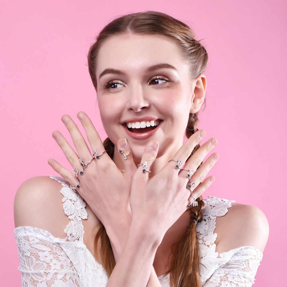 Kpop 925 Sterling Bạc Thư Ban Đầu Vòng Statement Jewelry CZ Rianbow Pha Lê Alphabet A đến Z Mở Vòng đối Phụ Nữ R6047