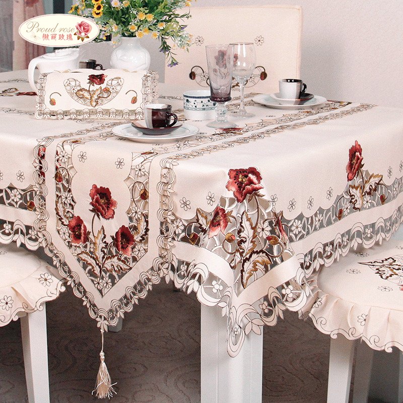 Fier Rose exquise broderie évider chaise Cover Table chiffon Ellipse Thé Table Chiffon Rural Table Runner Nappe Ronde