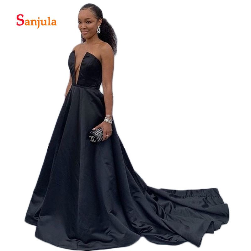 Black Satin   Evening     Dresses   Sweetheart Hollow Front Sexy Formal   Evening   Gowns Simple Night Party Ceremony Wear D965