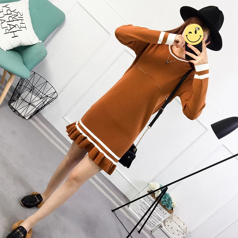 Maternity Clothes winter knitted sweater Dress Long sleeve loose pullover Soft warm Invisible Breastfeeding Pregnancy Clothes fashion cotton padded maternity shirts autumn winter fashion thick knitted long sleeve pregnancy tops loose maternity clothes