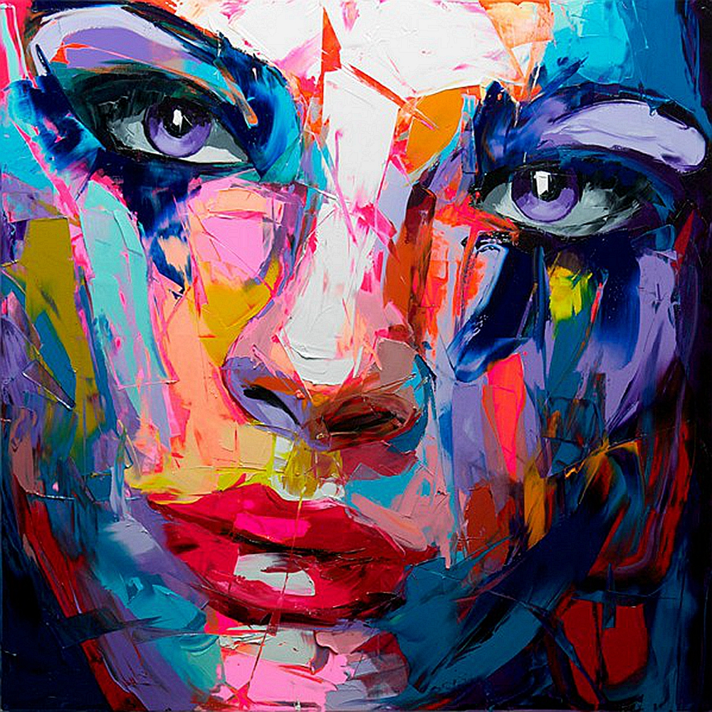 Home Wall Decor Abstract Purpel Eyes Girl Face Oil Painting on Canvas Hand Paint Artwork Knife Paintings for Hotel Room Wall Art