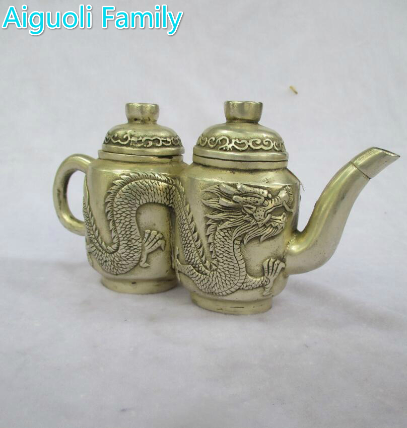 Art collection old chinese handmade tibet silver dragon double tea pot/metal teapot craft for home decoration