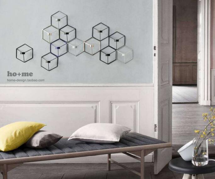 Новый Визуальный touch Nordic Стиль 3D геометрический Подсвечник металл настенный подсвечник бра соответствия небольшой Tealight украшения дома