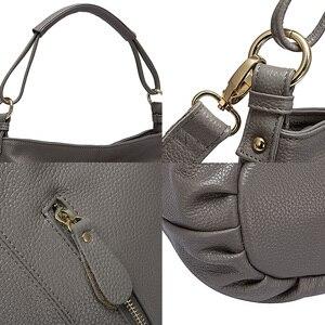 Image 5 - Zency 100% hakiki deri çanta Hobos kadınlar omuzdan askili çanta moda bayan Crossbody Messenger çanta Tote çanta siyah gri
