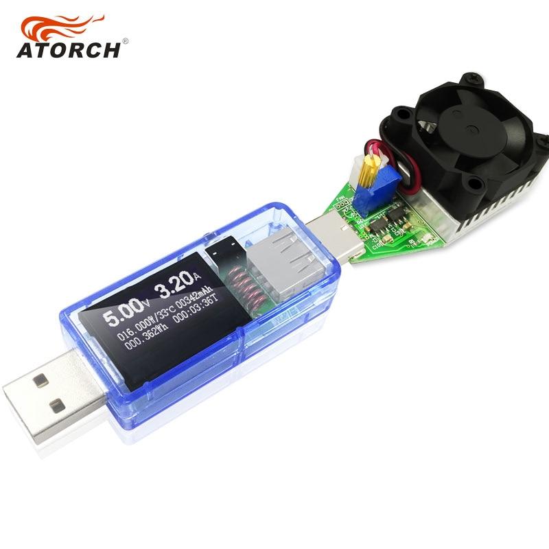 ATORCH USB tester + DC zátěž Digitální voltmetr 15W power bank - Měřicí přístroje - Fotografie 4