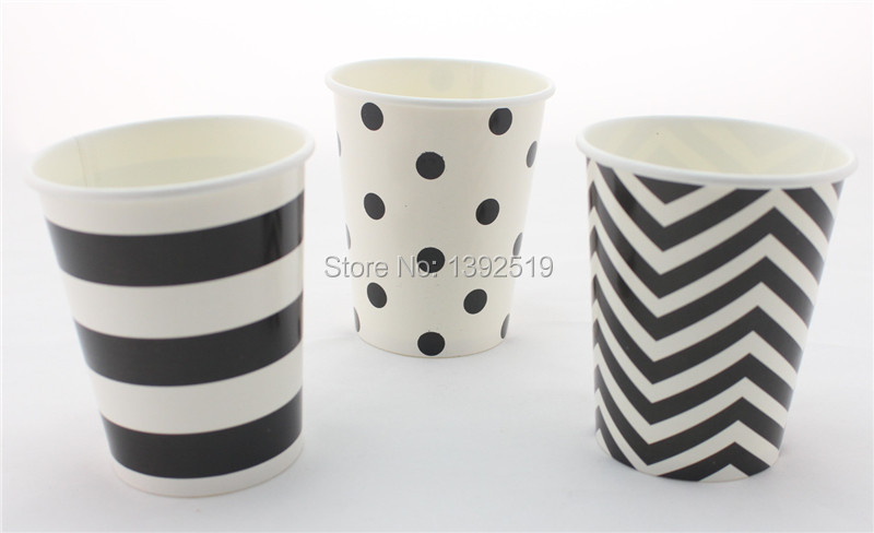Free Shipping 48pcs Eco-friendly Paper <font><b>Party</b></font> Supplies Black Paper <font><b>Cups</b></font> Chevron/Zigzag <font><b>Polka</b></font> <font><b>Dot</b></font> Striped Drinking <font><b>Cup</b></font> <font><b>Party</b></font> Favor