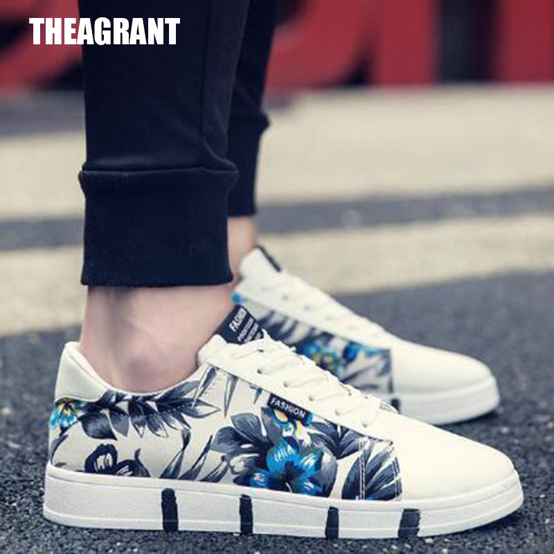 THEAGRANT Men Shoes Floral Sports-Sneakers Fashion Flat Male Spring Lace-Up MFS3021 Low-Top