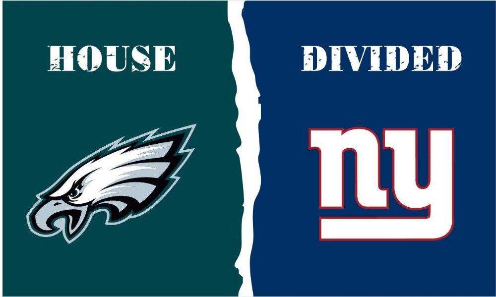 Philadelphia Eagles vs New York Giants House Divided Rivalry Flag 3 x 5 ft metal grommets Large Outdoor/Indoor Flag