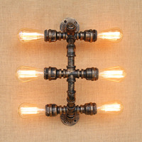 Retro Loft Water Pipe Lamp Vintage Industrial Wall Lights For Home Wandlamp Edison Wall Sconce Applique Murale Luminaire