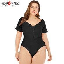SEBOWEL Plus Size V-neck Short Sleeve Bodysuits Female Summer Button Stretch Slim Bodysuit Womens 2019 Casual Basic Body Tops
