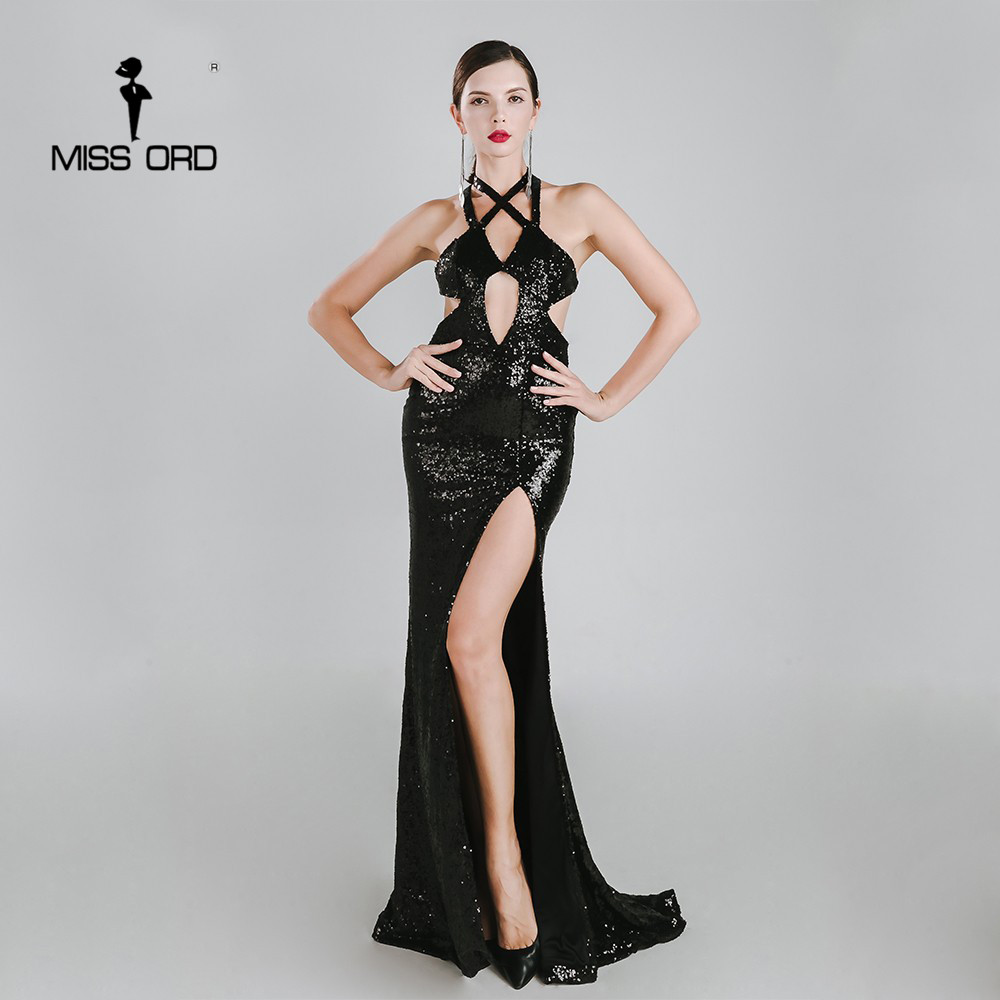 Missord 2019 Sexy sleeveless halter  split party dress sequin maxi dress FT4783
