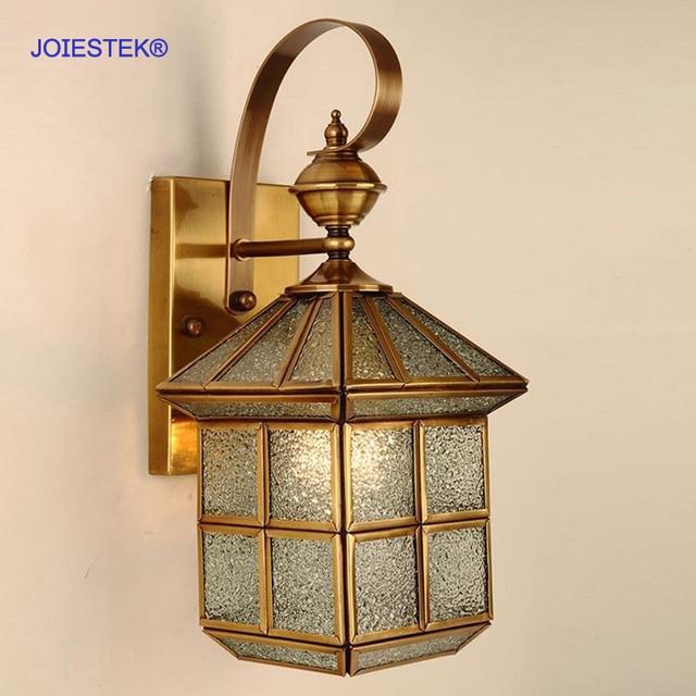Stile Europeo Moderno Lampade Da Parete Per Esterni Di Rame Impermeabile Lampada Per Soggiorno Camera Da Letto Comodino Cortile Cancello Del Giardino