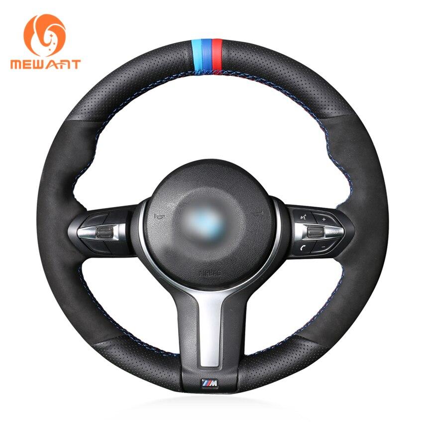 Black Genuine Leather Black Suede Steering Wheel Cover for BMW F87 M2 F80 M3 F82 M4 M5 F12 F13 M6 F85 X5 M F86 X6 M F33 F30 M car styling m carbon fiber leather pu steering wheel cover for bmw x1 x2 x3 x4 x5 x6 m1 m2 m3 m4 m5 m6 m7 series