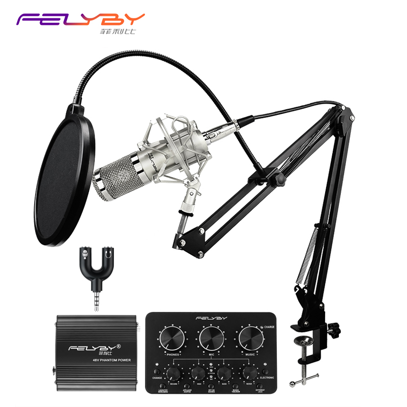 HOT! FELYBY BM 800 high quality Condenser microphone set for computer recording with Phantom power and Multi-function sound card professional condenser microphone bm 800 bm 800 cardioid pro audio studio vocal recording mic 48v phantom power usb sound card