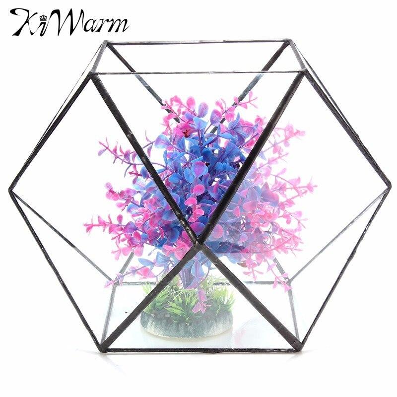 KiWarm glass Irregular Glass Geometric Terrarium Container Box Tabletop Succulent <font><b>Plant</b></font> Planter vase Garden Decoration