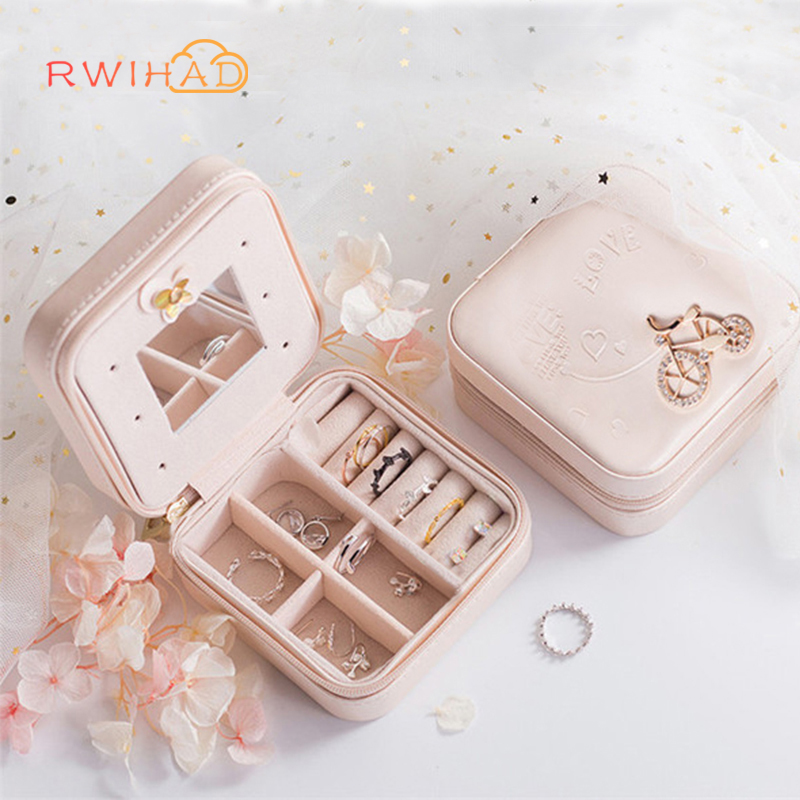 Travel Jewelry Box jewelry packing case Portable joyas Organizer Zipper Women jewellry Display Travel Case birthday gift