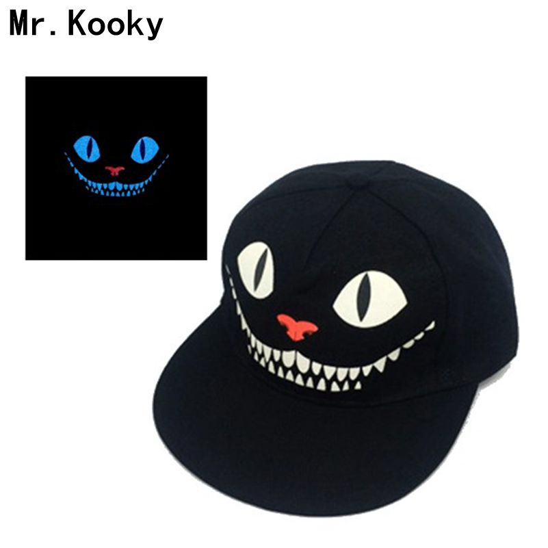 Mr.Kooky Luminous Hip-hop Cap Men Women Baseball Noctilucent Gorras Glow in the Dark Devil Cheshire Cat Blacklight Snapback Hats r b parker s the devil wins