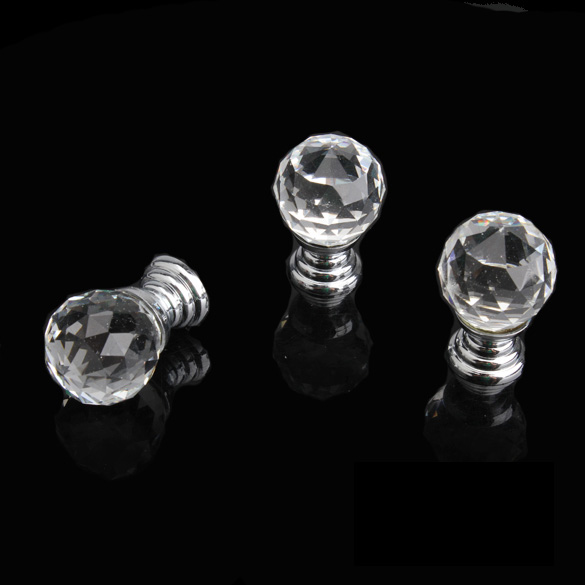 New 20mm Round Handle Cabinet Cupboard Crystal Glass Drawer Door Knobs Pack of 10 --M25 css clear crystal glass cabinet drawer door knobs handles 30mm