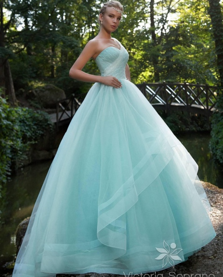 Cheap Bridal Bride Ball Gown Sky Blue Wedding Dresses