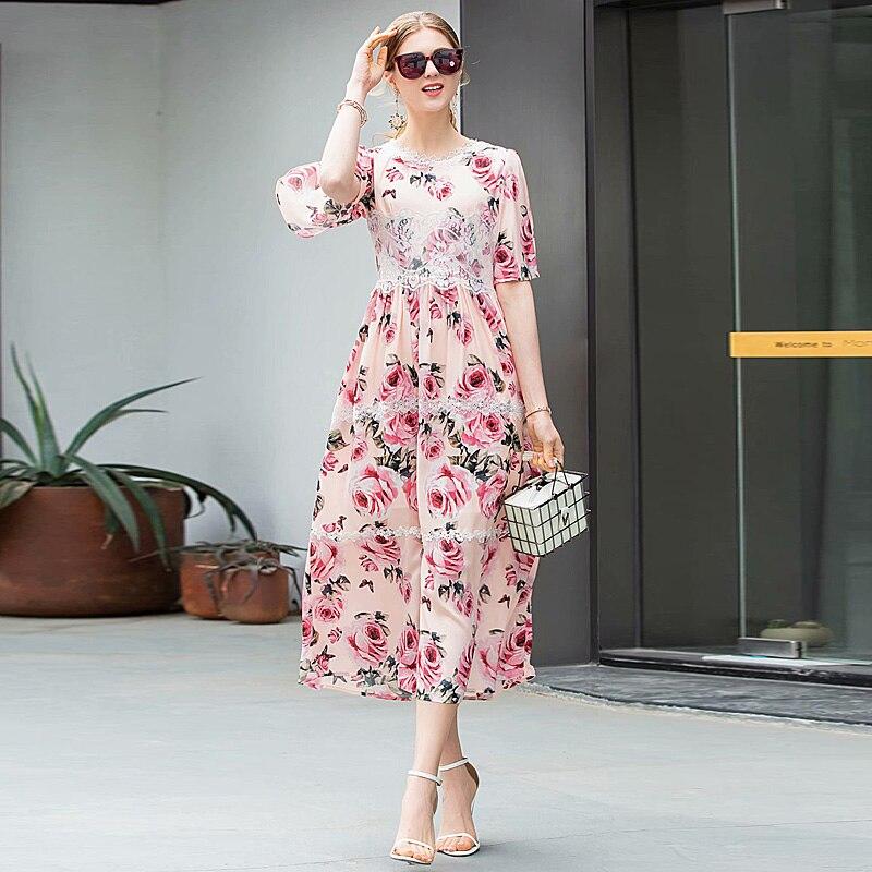c1b905995b04 2019 Del Elegante Chic Stampa Qualità Estate Vestito Chiffon Multi Lungo  Dell annata Abiti Boho Beach ...