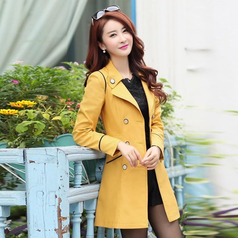 2015 Trench Coat Women 2015 Autumn Female Double-Breasted Long Coat Jacket Coat Plus Size Windbreaker