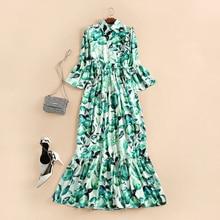 2017 Spring/summer Runway  green ruffles long dress Europe style ladies slim printing dress