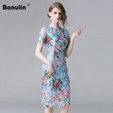 Banulin Hot 2019 Summer Fashion Runway Dress Women's Short Sleeve Casual Lace Hollow out Embroidered Floral Elegant Dress