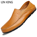 LIN KING New Fashion Men Casual Shoes Round Toe Thick Sole Flat Shoes Low Top Slip-on Massage Soft Ankle Shoes Male Simple Shoes