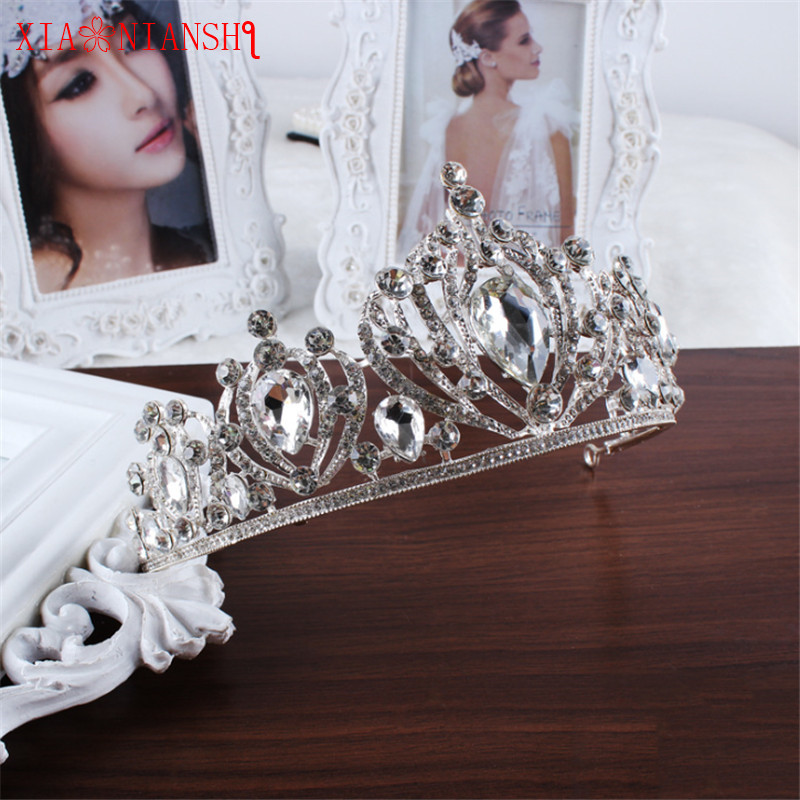 XIAONIANSHI Luxury Silver Wedding Diamante Pageant Tiaras Hairband Big Crystal Bridal Crowns For Brides Hair Jewelry Headpiece