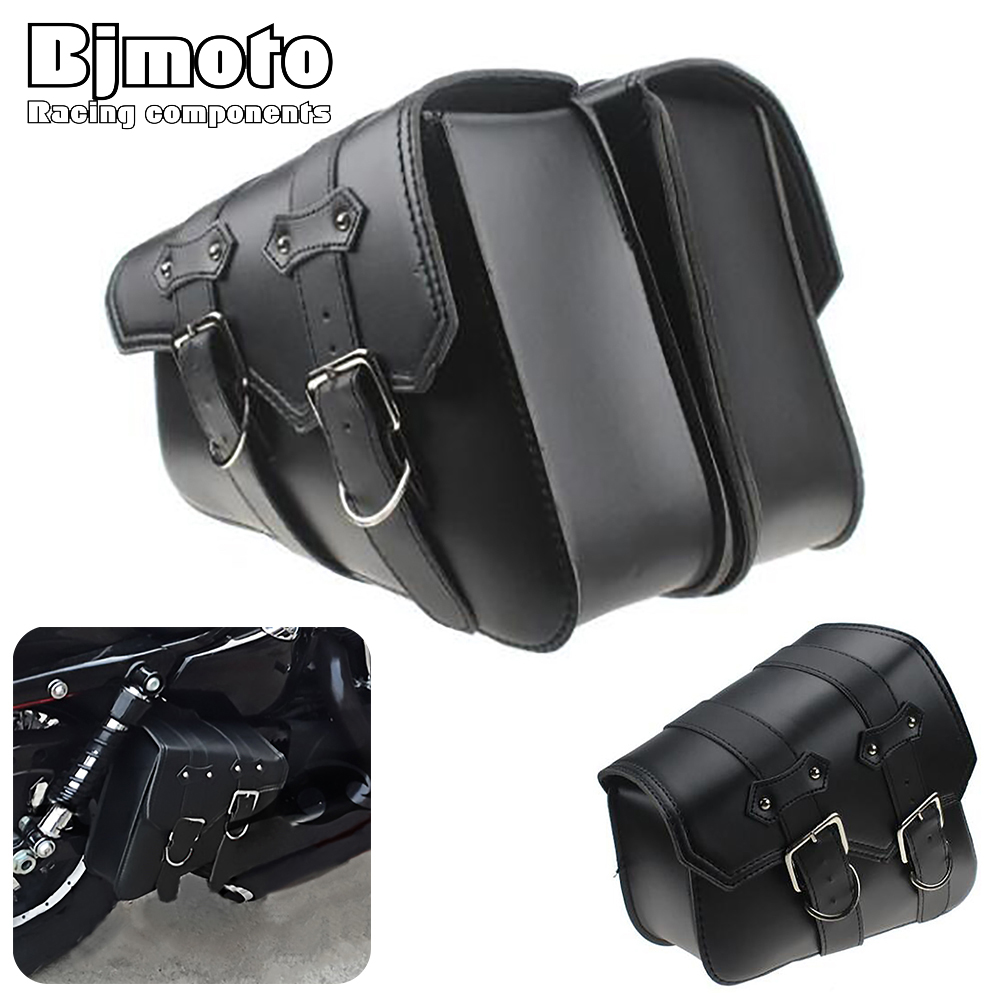 BJMOTO Pair New Motorcycle Left Right Saddle Side Bags Motor PU Bolsas de herramientas de cuero para Universal Sportster Chopper Bike