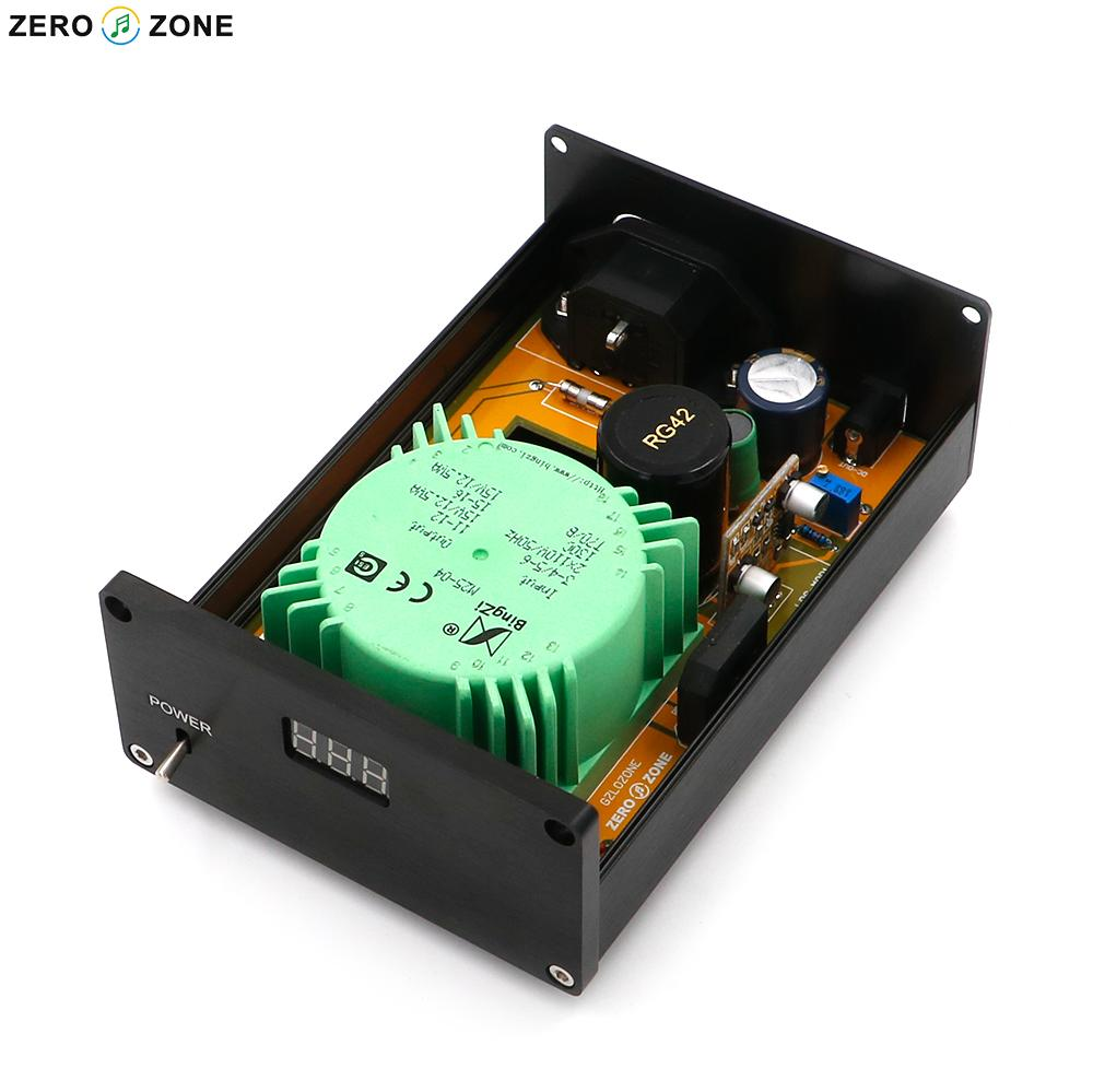 GZLOZONE New Version 25W Full Division MOS Linear Power Supply HIFI LPS PSU + Display Screen радиоприемник 25 hifi 25w