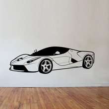 New arrival Free shipping diy Cool Sports Car Wall Stickers Boys Bedroom Decor Vinyl Removable Decals For Children