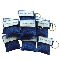 500 Adet CPR Maskesi Cpr Yüz Kalkanı Ile Tek yönlü Vana Anahtarlık Acil Survival Kullanım için CPR Ilk Yardım Mavi Naylon Torba sarılmış