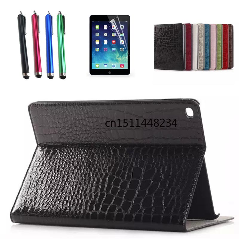 High quality fashion Crocodile PU Leather Stand Case For iPad air 2 Auto Wake-up Function Cover For iPad 6 smart Case+pen+film ultra thin for ipad air 2 case pu leather smart stand cover universal auto sleep wake up flip 9 7inch case for ipad air 1 2