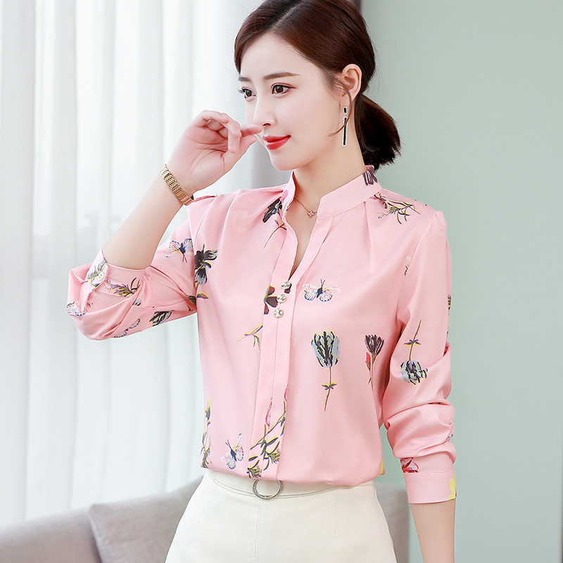 Women Blouses Chiffon Shirt Spring Autumn Tops Fashion Turn Down Collar Long Sleeve Floral Print Shirts Casual Plus Size 5XL