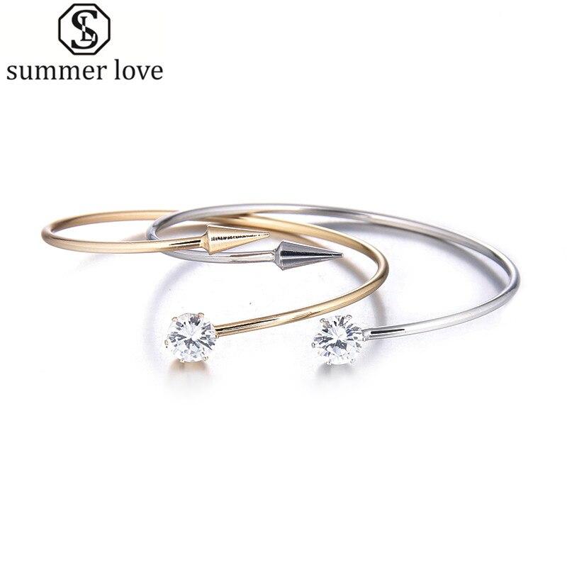 Fashion Minimalist Bracelet Women Bangles Crystal Nail Cuff bracelets With Arrow Jewelry Bijoux  bangle