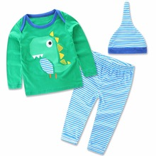Cute Cartoon Baby Toddler Infant Girls Boys Long Sleeve Tops T Shirts Kid Children Striped Pants Trousers Home Wear Clothing Set