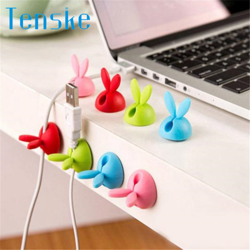 TENSKE 6 x Cable Clip Desk Tidy Wire Drop Lead USB Charger Cord Holder Secure Table 1PC Dropship F803