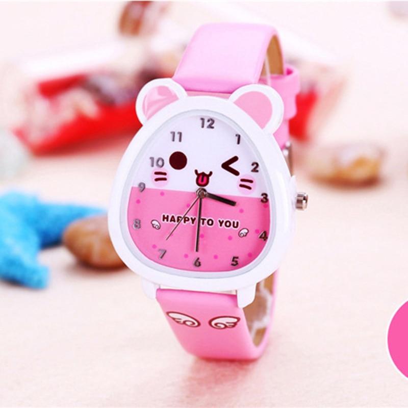 Παιδικά ρολόγια Παιδικά χαλαζία κορίτσια φοιτητών κοριτσιών Χαριτωμένα πολύχρωμα δερμάτινα ρολόγια Γενέθλια Δώρα Παιδιά Κορίτσια Αγόρια ρολόγια kol saati