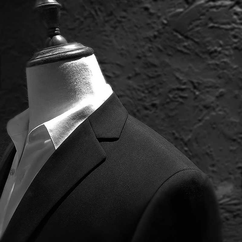 TPSAADE 男性の長袖スーツジャケットビジネス結婚式のブレザー男性青と黒ブレザー