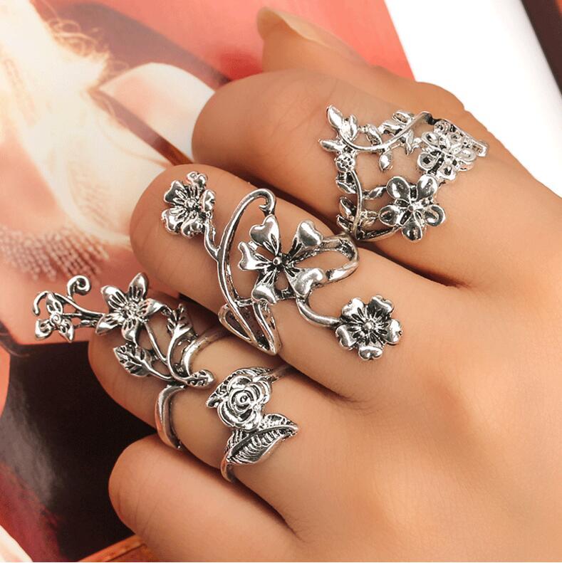 4pcs Bague Femme Vintage Midi Finger Knuckle Rings Jewelry Big Flower Leaf