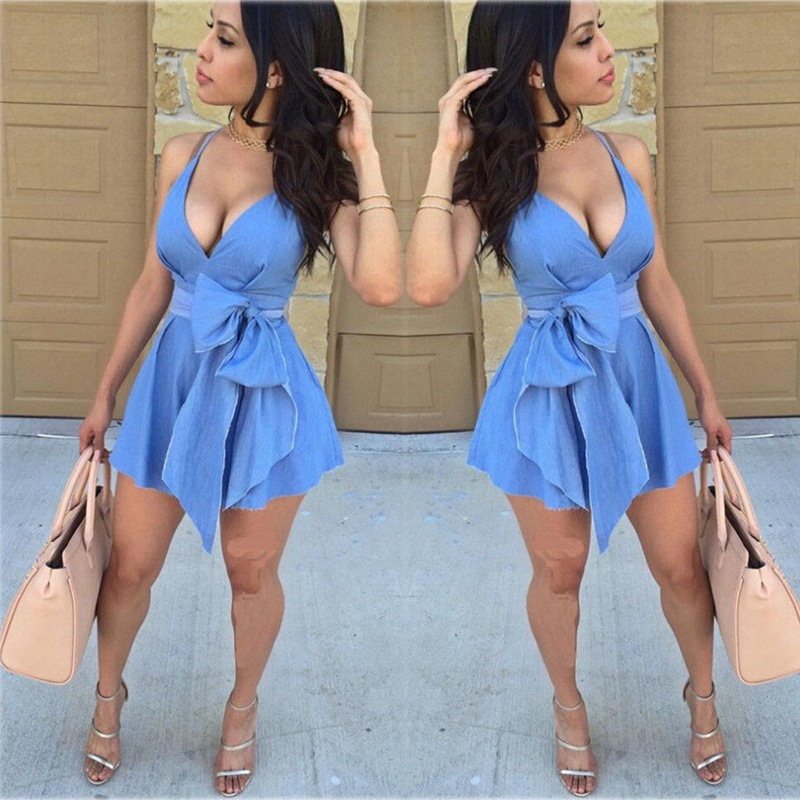 2019 Newest Summer Sexy Women Sleeveless V Neck Bow tie Party Dress Evening Casual Mini Dress Blue Vestidos Female Clothing
