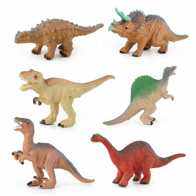 Novo 12 pçs/lote mini dinossauro plástico jurássico jogar modelo de ação & figuras T-REX dinossauro brinquedos para crianças presente