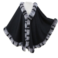 Women's Real Fur Lady Genuine Rex Rabbit Fur Female Shawl Trim all around Cape Poncho 2 Colors