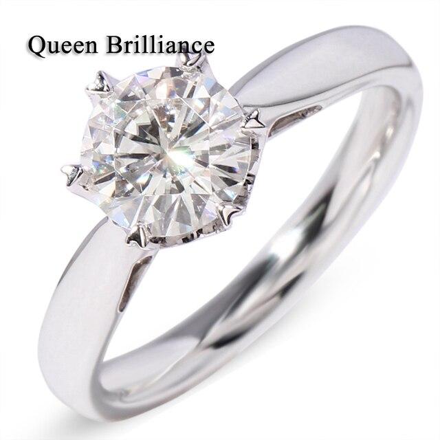 Queen brilliance 14 k 585 eternidad oro blanco con ajuste del diente 1 ct moissanite piedra fina de blanco anillo de bodas de compromiso