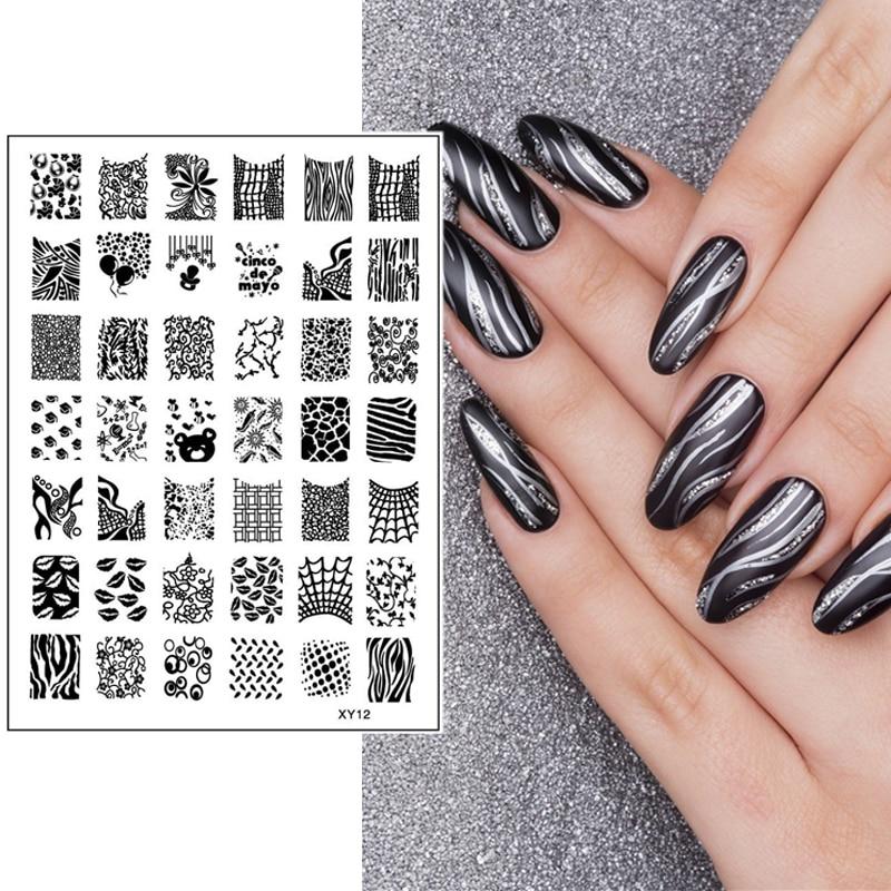 ①1 Pc New Nail Art Stamping Stripe Grid Cobweb Lip Vine Designs ...